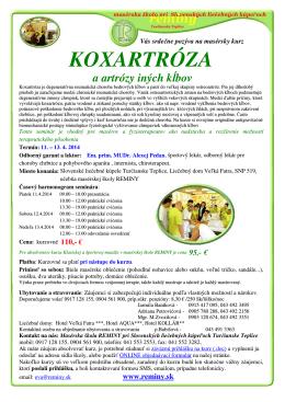 KOXARTRÓZA - Masérska škola REMINY
