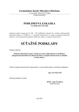 SÚŤAŽNÉ PODKLADY - Gymnázium Jozefa Miloslava Hurbana