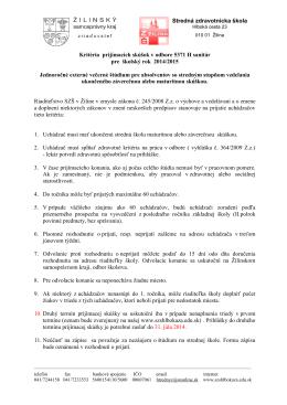 Stredná zdravotnícka škola, Hlboká cesta 23, 010 01 Žilina