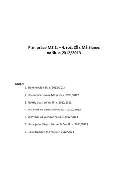 Plán práce MZ 1. – 4. roč. ZŠ s MŠ Slanec na šk. r. 2012/2013