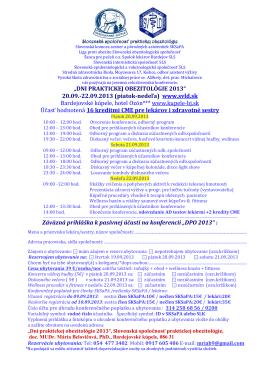 """""""DNI PRAKTICKEJ OBEZITOLÓGIE 2013"""" 20.09.-22.09"""