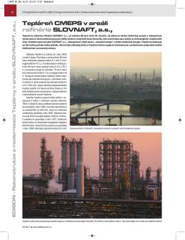 Tepláreň CMEPS v areáli rafinérie SLOVNAFT, a.s.,