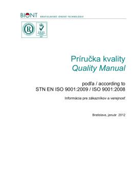 Príručka kvality Quality Manual