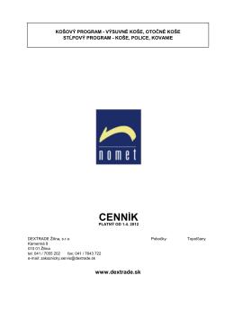NOMET cenník 2012 - Dextrade Žilina, sro