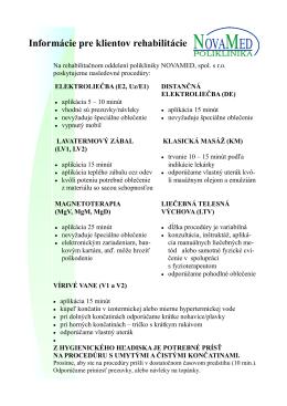 informácie rehabilitácia
