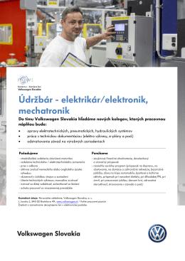 Údržbár - elektrikár/elektronik, mechatronik