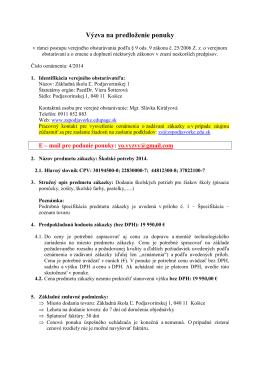 4-2014 Výzva na predloženie ponuky