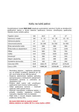 Cenník KRUK ECO DUO STK - kotly na tuhé palivo