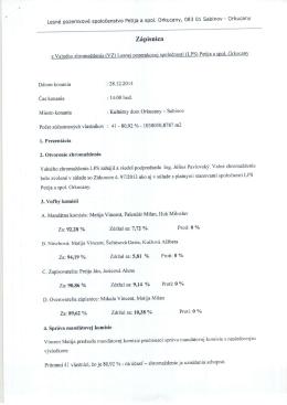 Zápisnica z VZ LPS konaného dňa 28.12.2014