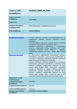 Názov a kód kvalifikácie: Vizážista_0009_UK_ISDV