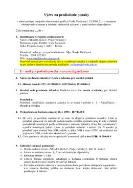 3-2014 Výzva na predloženie ponuky