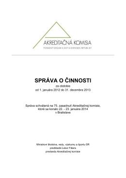 Správa o činnosti - Akreditačná komisia