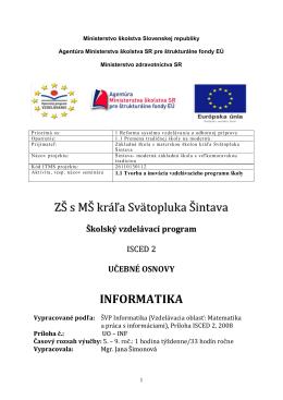 Informatika - ZŠ s MŠ kráľa Svätopluka Šintava