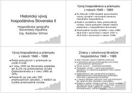 Historický vývoj hospodárstva Slovenska II