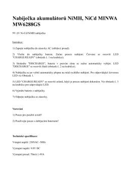 Nabíječka akumulátorů NiMH, NiCd MINWA MW6288GS