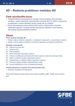 8D – Riešenie problémov metódou 8D 2014