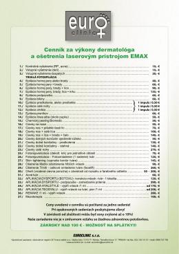Cenník za výkony dermatológa a ošetrenia laserovým