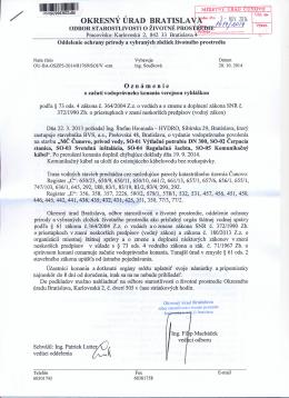 Verejná vyhláška OÚ, Oznámenie o začatí vodoprávneho konania