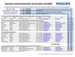 Zoznam autorizovaných servisných stredísk