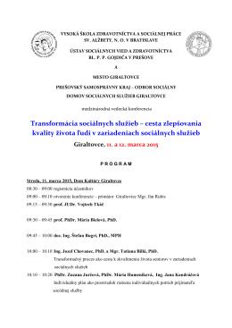 program konferencie - Domov Sociálnych služieb v Giraltovciach