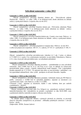 Prijaté uznesenia OZ za rok 2012
