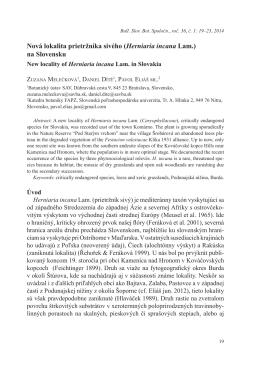 Nová lokalita prietržníka sivého (Herniaria incana Lam.) na