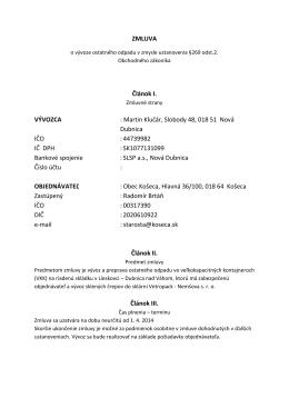 Martin Klučár, Slobody 48, 018 51 Nová Dubnica IČO