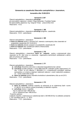 Uznesenie Obecného zastupiteľstva za mesiac jún