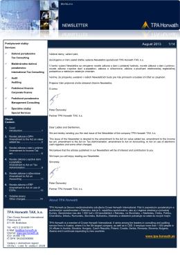 Newsletter TPA Horwath Slovensko 8/2013