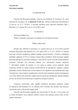 Najvyšší súd 6 Cdo 238/2014 Slovenskej