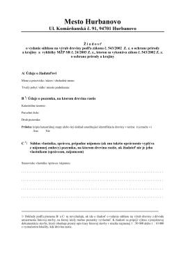 Žiadosť ns súhlas výrubu dreviny podľa zák. č. 543