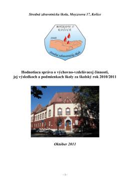 Záv.správa - 10-11 vlado finall - Stredná zdravotnícka škola