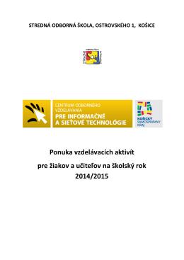 ponuka kurzov a školení šk.r. 2014/2015