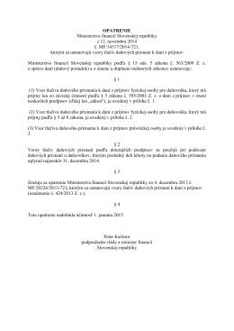 OPATRENIE Ministerstva financií Slovenskej republiky z 12