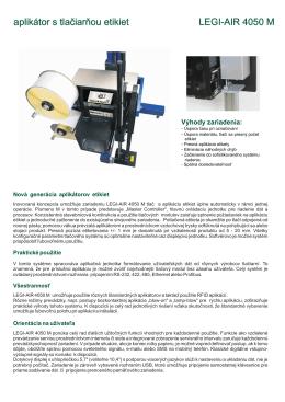 aplikátor s tlačiarňou etikiet LEGI-AIR 4050 M