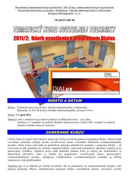 Návrh osvetlenia s programom Dialux