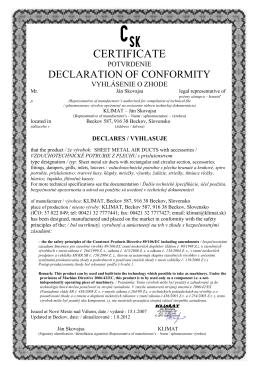 Certifikát VZT potrubia