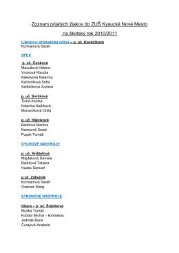 Zoznam prijatých žiakov do ZUŠ 2010-11
