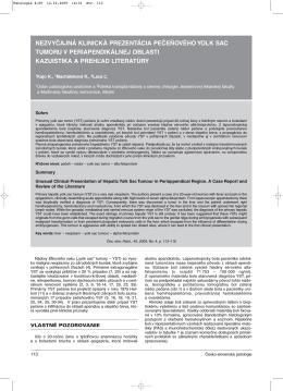 nezvyčajná klinická prezentácia pečeňového yolk sac tumoru v
