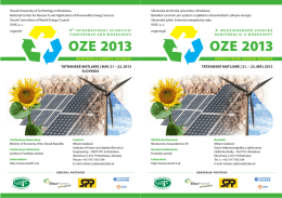 OZE 2013 OZE 2013 - POWER ENGINEERING 2014