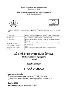 Etická výchova - ZŠ s MŠ kráľa Svätopluka Šintava