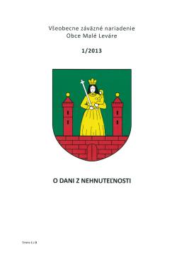 VZN 1 / 2013 o dani z nehnuteľnosti