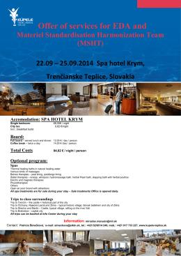 Offer of services MSHT - Kúpele Trenčianske Teplice