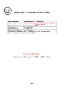 Smernica o hodnotení a klasifikácii predmetov ISCED1, ISCED2