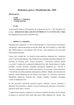 Hodnotiaca správa z Metodického dňa - ŠKD