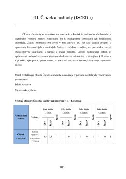 III. Človek a hodnoty (ISCED 1)