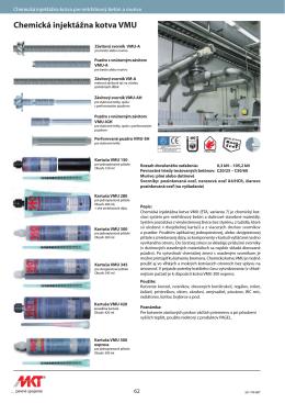 Chemická injektážna kotva VMU
