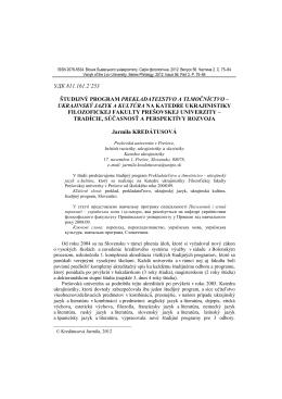 удк 811.161.2`253 študijný program prekladateľstvo a tlmočníctvo