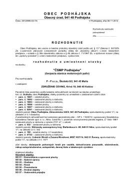 Rozhodnutie o umiestneni stavby - CSMP