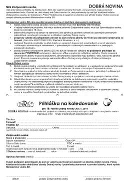Prihláška na koledovanie